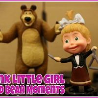 Pink Little Girl and Bear Moments